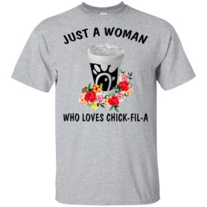 Just A Woman Who Loves Chick Fil A With Flower Shirt, Long Sleeve T-Shirt